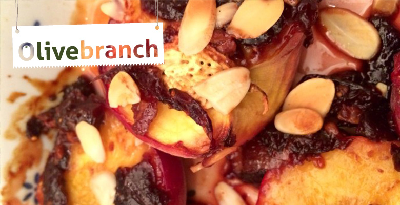 Recipe – Baked Peaches with Sweet Olive & Fig